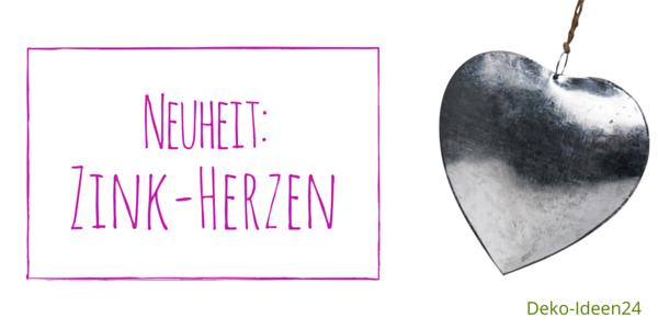 Blog Deko-Ideen 24: Neuheit: Zink-Herzen