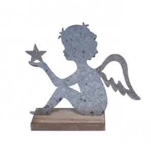 Metallengel mit Stern silber auf Baumstamm 19x17cm 1Stk