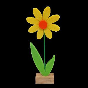 Filzblume auf Holz zum Stellen gelb 27cm  4Stk