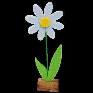 Filzblume auf Holz zum Stellen weiß 27cm  4Stk