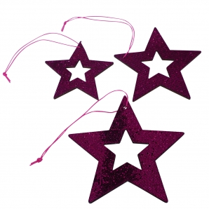 Hologramm-Sterne zum Hängen pink 3fach sortiert 9Stk
