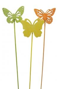 Blumenstecker Schmetterling bunt 6x8cm 12Stk