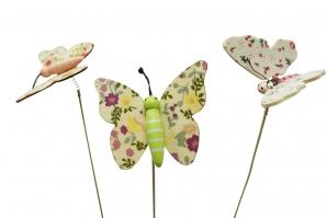Blumenstecker Schmetterling bunt 6cm 18Stk