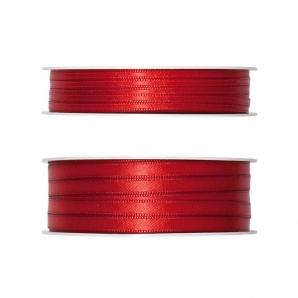 Doppel Satinband rot 50m in zwei Größen