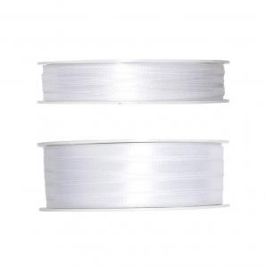 Doppel Satinband weiß 50m in zwei Größen