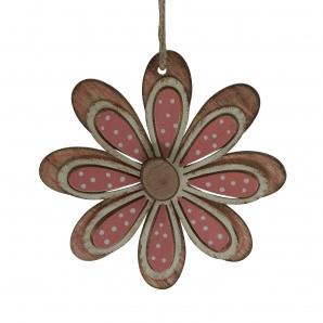 Holzblüten zum Hängen rosa-weiß 10x10cm 4Stk