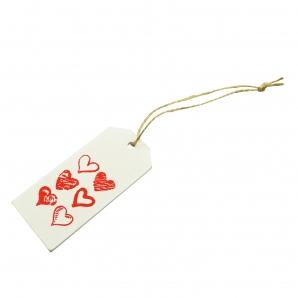 Holzschild Herzen zum Hängen weiß 9x4cm 12Stk