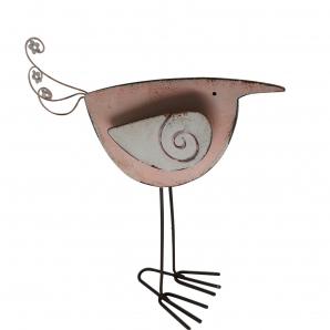 Vogel zum Stellen in rosa und weiß 22x20cm 1Stk