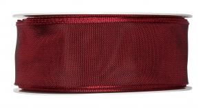 Satinband - Drahtkante bordeaux-rot 40mm x 25m
