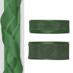 Satinband - Drahtkante grün 25m in zwei Größen