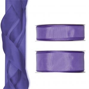 Satinband - Drahtkante lila 25m in zwei Größen