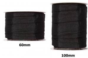 Plissee Taft schwarz in versch. Breiten 10m