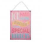 Metallschild special effects, zum Hängen rosa 24x19cm 1Stk
