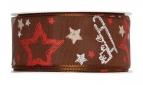 Weihnachtsband Weihnachtsmotive braun 40mm20m