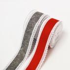 X!Filzband - Kettelspitze rot und grau 50mm5m