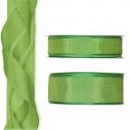 Satinband - Drahtkante grün - hellgrün 25m in zwei Größen