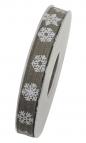 Weihnachtsband Schneeflocke anthrazit 15mm15m