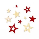 Weihnachten - Filzsterne sortiert in zwei Farbkombinationen 15Stk