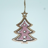 Weihnachtsbaum und Engel aus Holz natur rosa mit Glimmer 10x8cm 8Stk