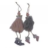 Engel Paar mit Fellkleid rosa und grau mit goldenen Flügeln 19cm 4Stk