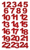 Weihnachten - Deko-Filzsticker Adventszahlen rot 1-24