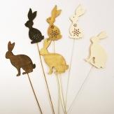 Blumenstecker Ostern - Hase aus Holz in Naturtönen 18Stk