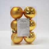 Christbaumkugel Kunststoff bruchfest gold 8cm 6Stk
