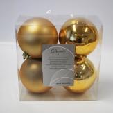 Christbaumkugel Kunststoff bruchfest gold 10cm 4Stk