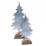 Metalltannenbaum klein silber auf Baumscheibe 25x12cm 1Stk