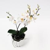 Orchidee weiß im Topf 33 cm (1St) Seidenblume Kunstblume