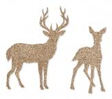 Weihnachten - Sticker mit Reh und Hirsch gold 8Stk