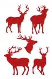 Weihnachten - Deko-Filzsticker mit Hirschen rot 5Stk