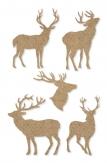 Weihnachten - Deko-Filzsticker mit Hirschen taupe 5Stk