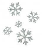 Weihnachten - Sticker Schneeflocken Kristall silber 90Stk
