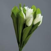 Tulpen aus Seide weiß mit Blatt 29cm (7 St.) Kunstblume Künstliche Tulpe