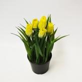 Tulpen aus Seide gelb mit Gras im Topf 20x9cm