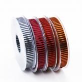 Weihnachtsband Riviera mit glänzenden Querstreifen 15mm20m in 4 Farben