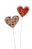 Blumenstecker Herz rot-weiß 7cm 12Stk