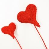 Blumenstecker Herz aus Sisal rot in zwei Größen