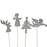 Blumenstecker Weihnachten Tanne, Hirsch, Engel  silber 27cm 12Stk