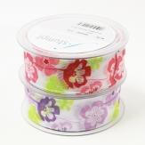 Blüten Dekoband Blumen in rosa oder flieder 40mm20m