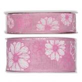Blüten Dekoband Blumen rosa weiß in zwei Größen 20m
