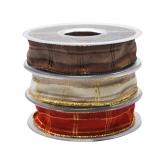 Weihnachtsband kariert in drei Farben 25mm20m