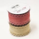 Dekoband Leinenoptik mit Spitzenrand in rosa oder natur 60mm8m