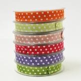 Dekoband Satin mit Punkten in verschiedenen Farben 15mm20m