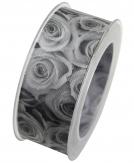 Fotodruckband Rosen schwarz-weiß 40mm15m