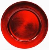 Platte / Teller rot rund mit breitem Rand Ø33cm