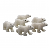 Eisbären weiß beflockt 7,5cm 6Stk
