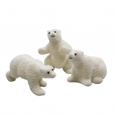 Eisbären weiß beflockt 15cm 3Stk im Set