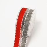 Filzband - weiße Einfassung rot und grau 20mm10m